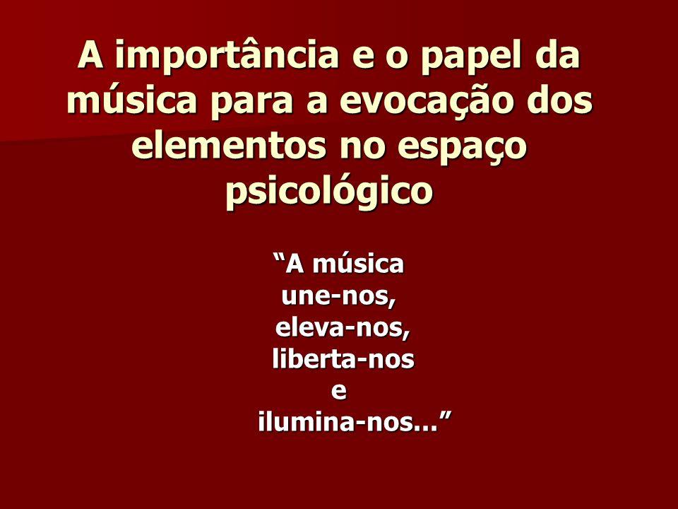 A importância e o papel da música para a evocação dos elementos no espaço psicológico A música une-nos, eleva-nos, eleva-nos, liberta-nos liberta-nose