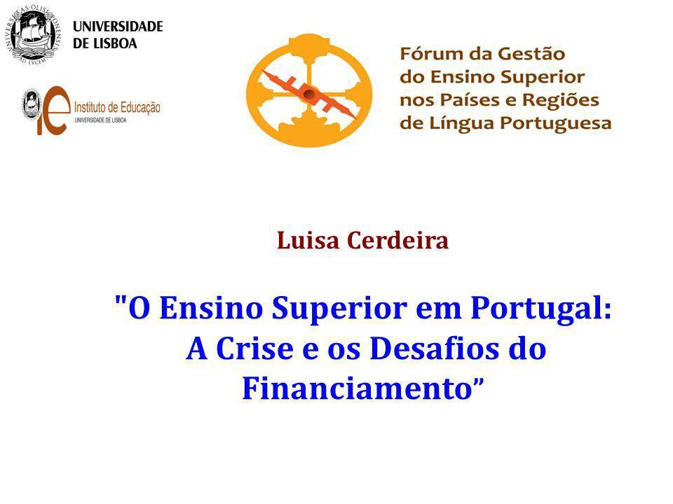 Índice da apresentação Alguns dados da evolução do Ensino Superior em Portugal O contexto do financiamento do ensino superior público: Os mecanismos de orçamentação do ensino público Os custos dos estudantes do Ensino Superior Que futuro.