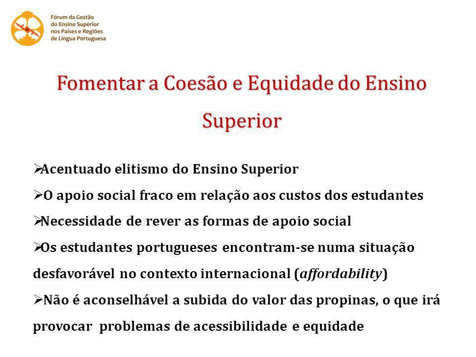 Fomentar a Coesão e Equidade do Ensino Superior Acentuado elitismo do Ensino Superior O apoio social fraco em relação aos custos dos estudantes Necess