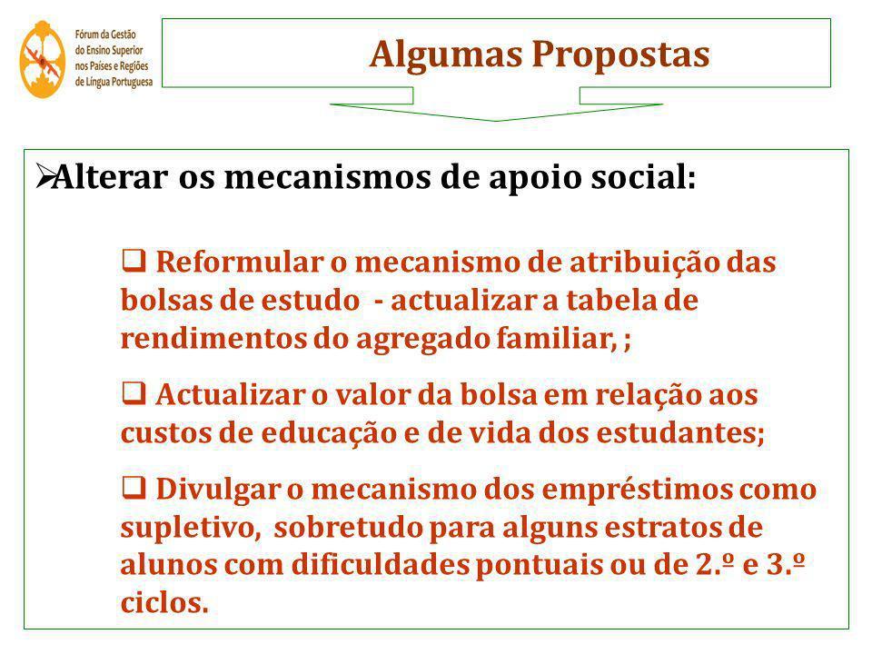 Alterar os mecanismos de apoio social: Reformular o mecanismo de atribuição das bolsas de estudo - actualizar a tabela de rendimentos do agregado fami