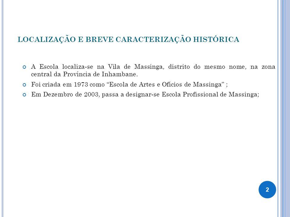 LOCALIZAÇÃO E BREVE CARACTERIZAÇÃO HISTÓRICA A Escola localiza-se na Vila de Massinga, distrito do mesmo nome, na zona central da Província de Inhamba