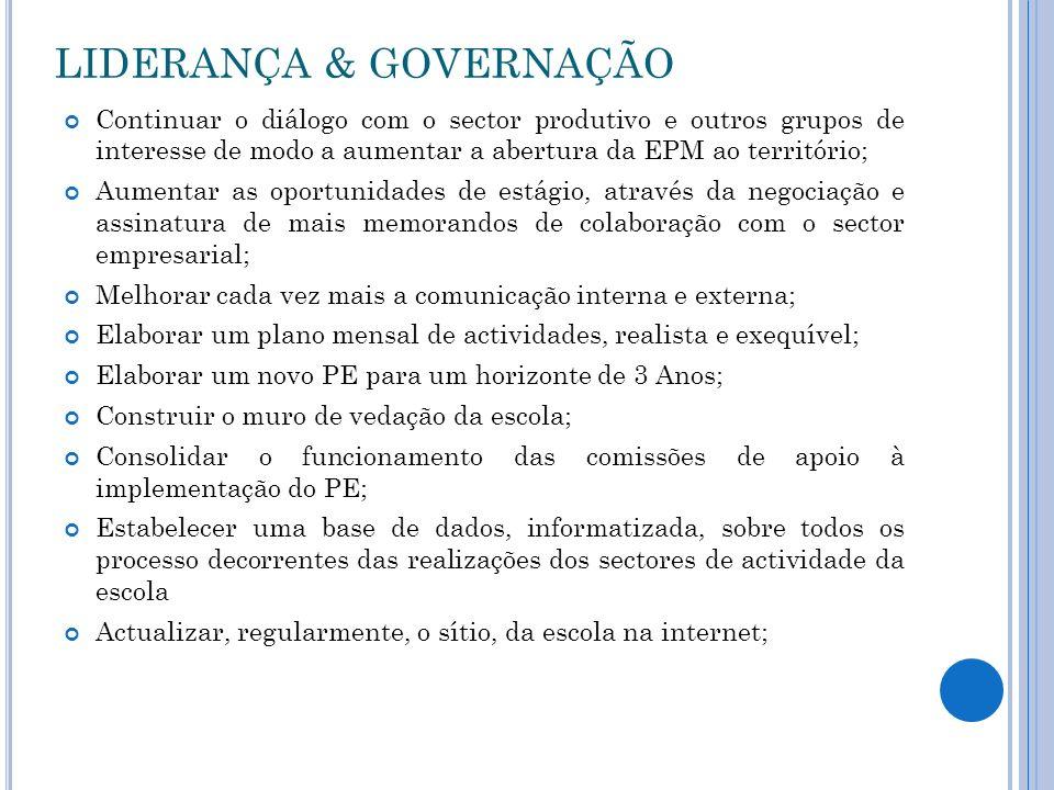 LIDERANÇA & GOVERNAÇÃO Continuar o diálogo com o sector produtivo e outros grupos de interesse de modo a aumentar a abertura da EPM ao território; Aum