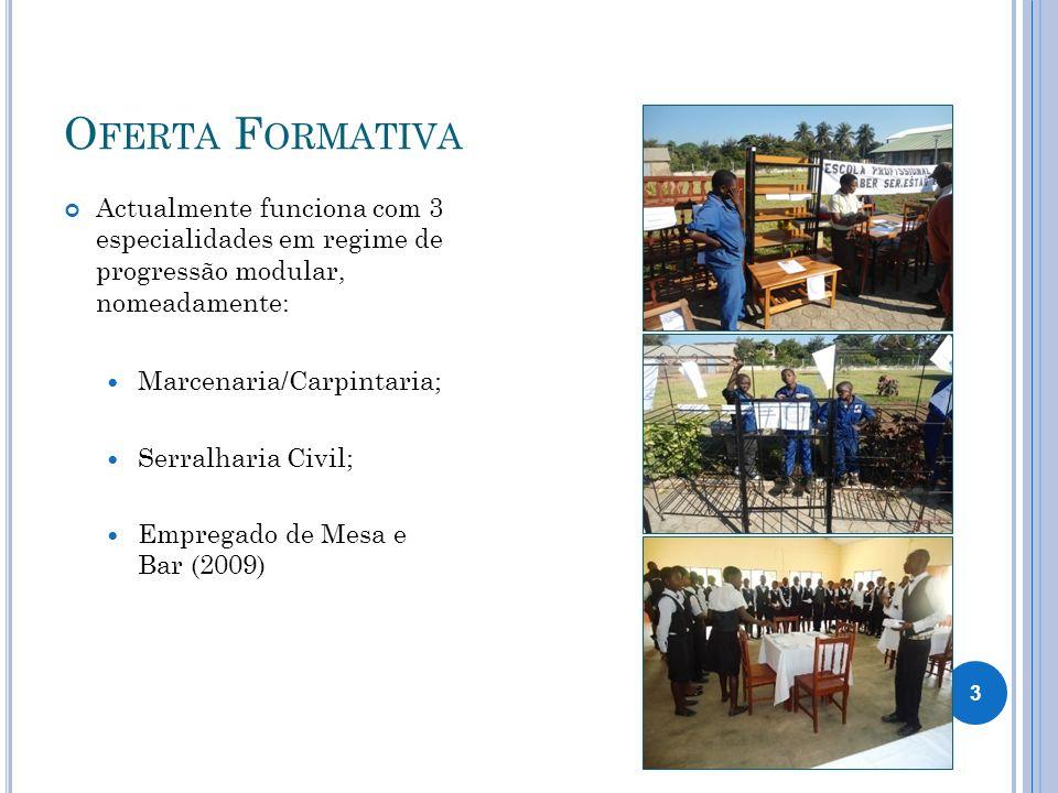 O FERTA F ORMATIVA Actualmente funciona com 3 especialidades em regime de progressão modular, nomeadamente: Marcenaria/Carpintaria; Serralharia Civil;