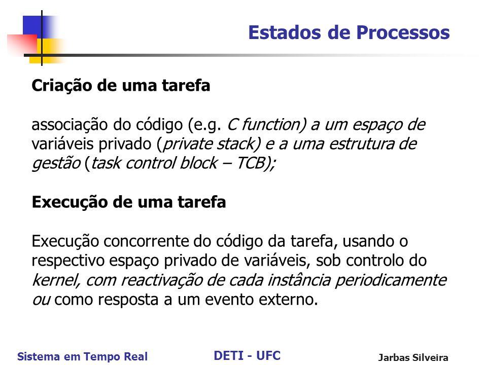 DETI - UFC Sistema em Tempo Real Jarbas Silveira Estados de Processos Criação de uma tarefa associação do código (e.g. C function) a um espaço de vari
