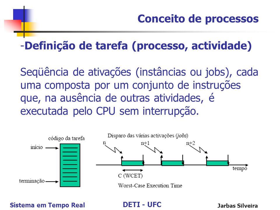 DETI - UFC Sistema em Tempo Real Jarbas Silveira Conceito de processos -Definição de tarefa (processo, actividade) Seqüência de ativações (instâncias