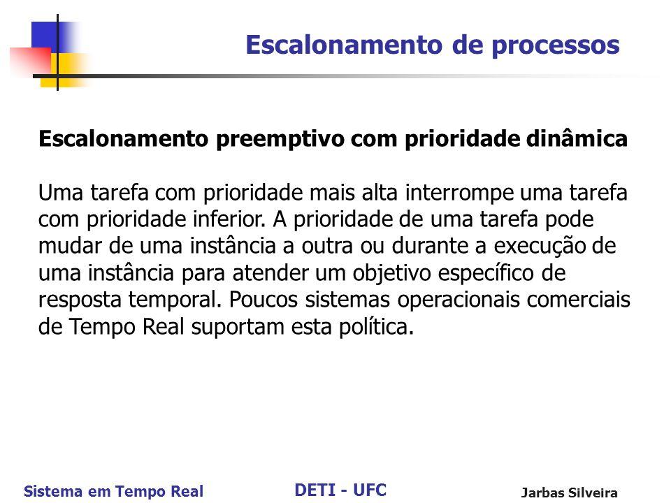 DETI - UFC Sistema em Tempo Real Jarbas Silveira Escalonamento de processos Escalonamento preemptivo com prioridade dinâmica Uma tarefa com prioridade
