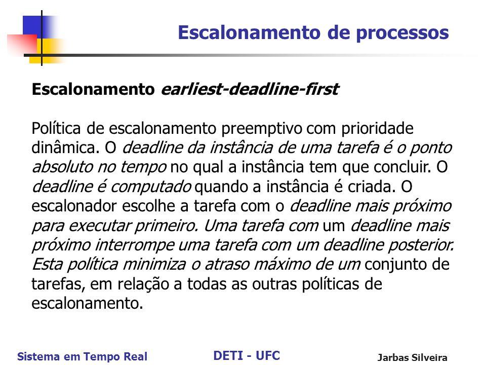 DETI - UFC Sistema em Tempo Real Jarbas Silveira Escalonamento de processos Escalonamento earliest-deadline-first Política de escalonamento preemptivo