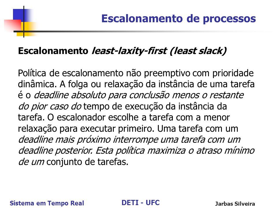 DETI - UFC Sistema em Tempo Real Jarbas Silveira Escalonamento de processos Escalonamento least-laxity-first (least slack) Política de escalonamento n