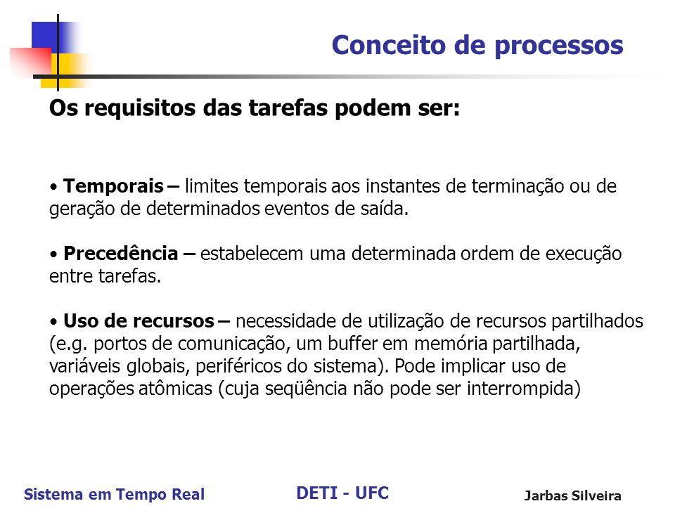 DETI - UFC Sistema em Tempo Real Jarbas Silveira Conceito de processos Os requisitos das tarefas podem ser: Temporais – limites temporais aos instante