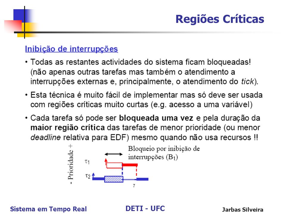 DETI - UFC Sistema em Tempo Real Jarbas Silveira Regiões Críticas