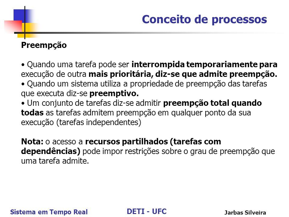 DETI - UFC Sistema em Tempo Real Jarbas Silveira Conceito de processos Preempção Quando uma tarefa pode ser interrompida temporariamente para execução
