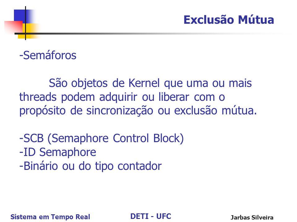 DETI - UFC Sistema em Tempo Real Jarbas Silveira Exclusão Mútua -Semáforos São objetos de Kernel que uma ou mais threads podem adquirir ou liberar com
