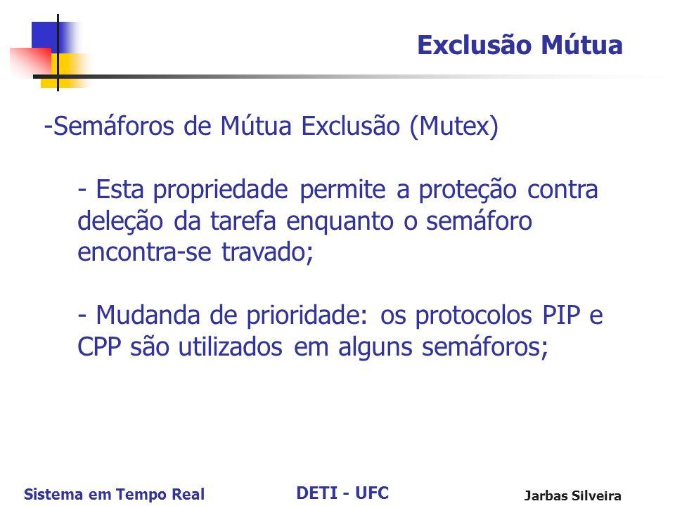 DETI - UFC Sistema em Tempo Real Jarbas Silveira Exclusão Mútua -Semáforos de Mútua Exclusão (Mutex) - Esta propriedade permite a proteção contra dele