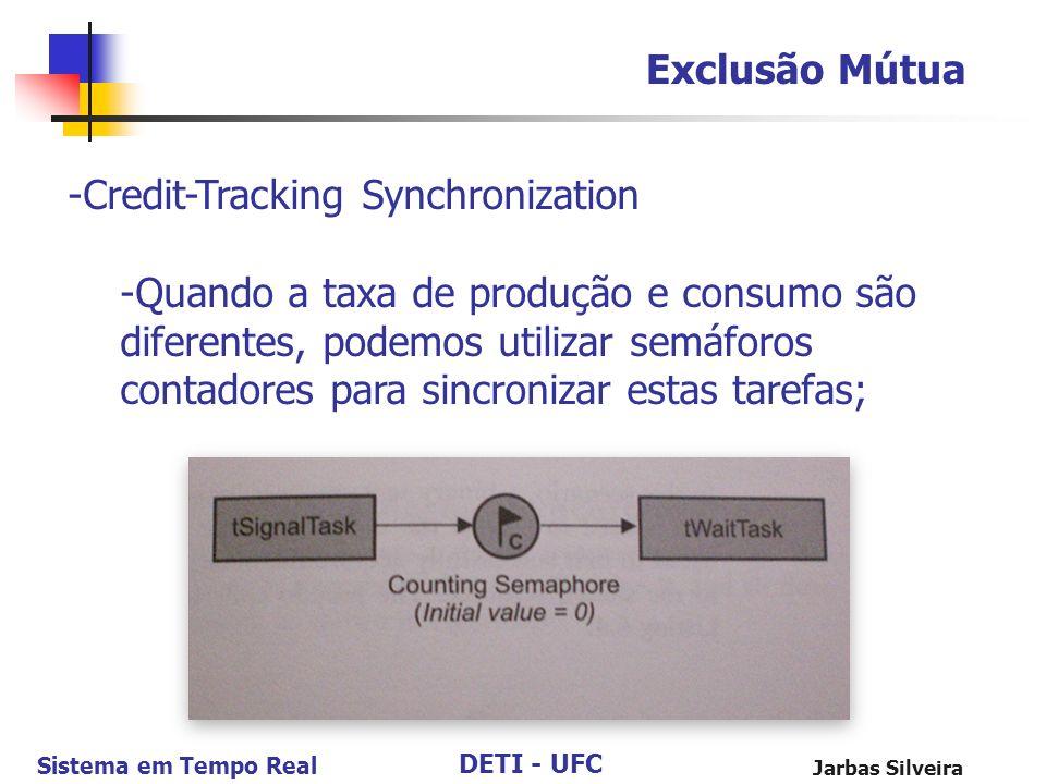 DETI - UFC Sistema em Tempo Real Jarbas Silveira Exclusão Mútua -Credit-Tracking Synchronization -Quando a taxa de produção e consumo são diferentes,