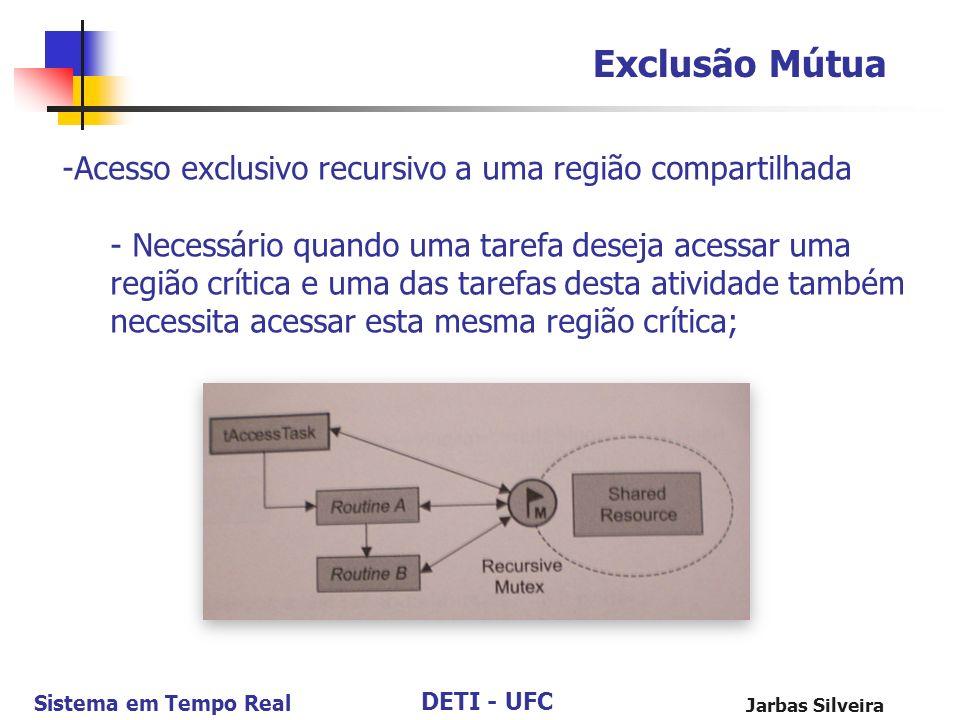 DETI - UFC Sistema em Tempo Real Jarbas Silveira Exclusão Mútua -Acesso exclusivo recursivo a uma região compartilhada - Necessário quando uma tarefa