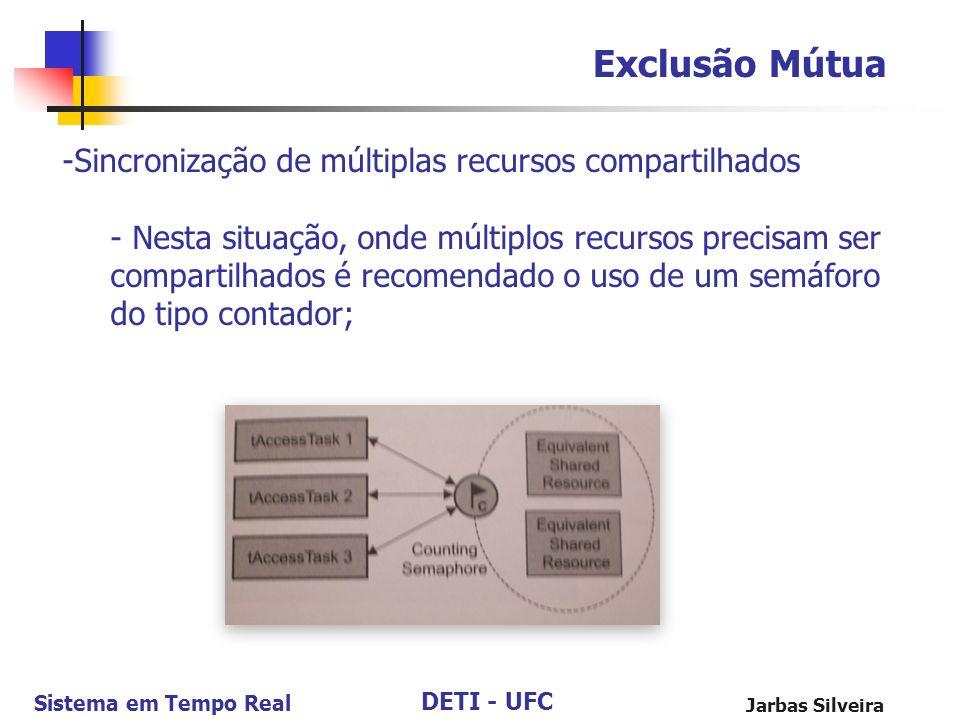 DETI - UFC Sistema em Tempo Real Jarbas Silveira Exclusão Mútua -Sincronização de múltiplas recursos compartilhados - Nesta situação, onde múltiplos r