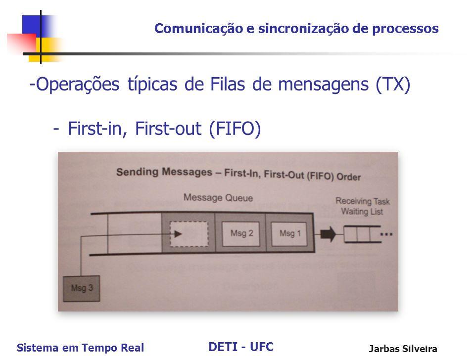 DETI - UFC Sistema em Tempo Real Jarbas Silveira -Operações típicas de Filas de mensagens (TX) -First-in, First-out (FIFO) Comunicação e sincronização