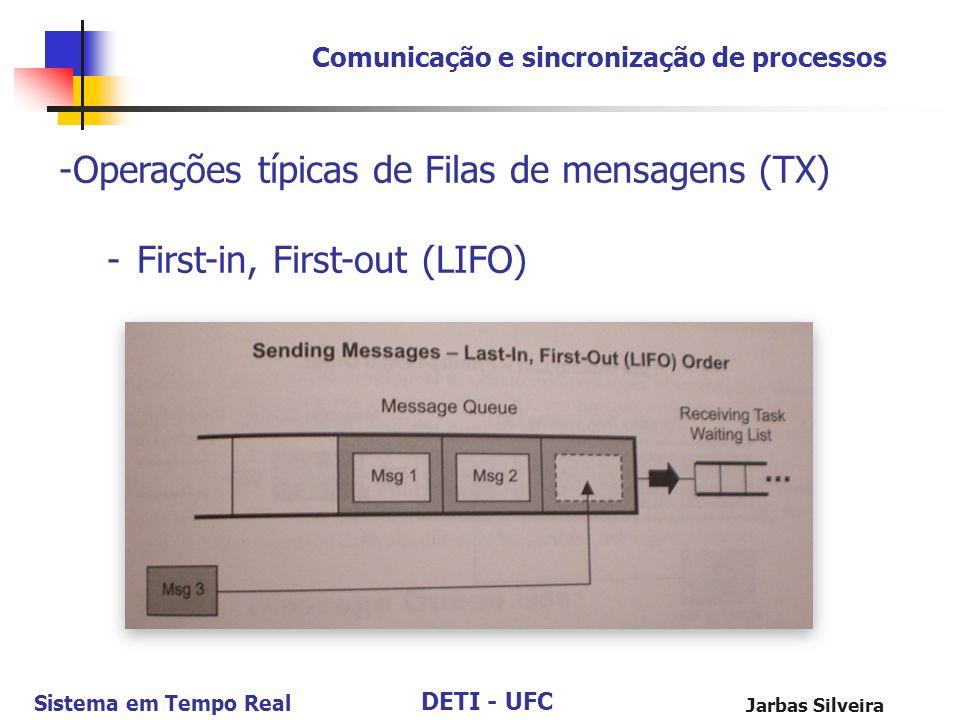 DETI - UFC Sistema em Tempo Real Jarbas Silveira Comunicação e sincronização de processos -Operações típicas de Filas de mensagens (TX) -First-in, Fir
