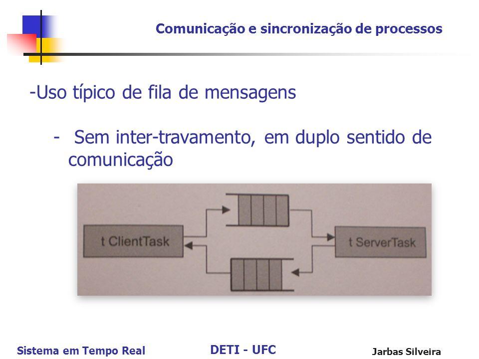 DETI - UFC Sistema em Tempo Real Jarbas Silveira Comunicação e sincronização de processos -Uso típico de fila de mensagens - Sem inter-travamento, em