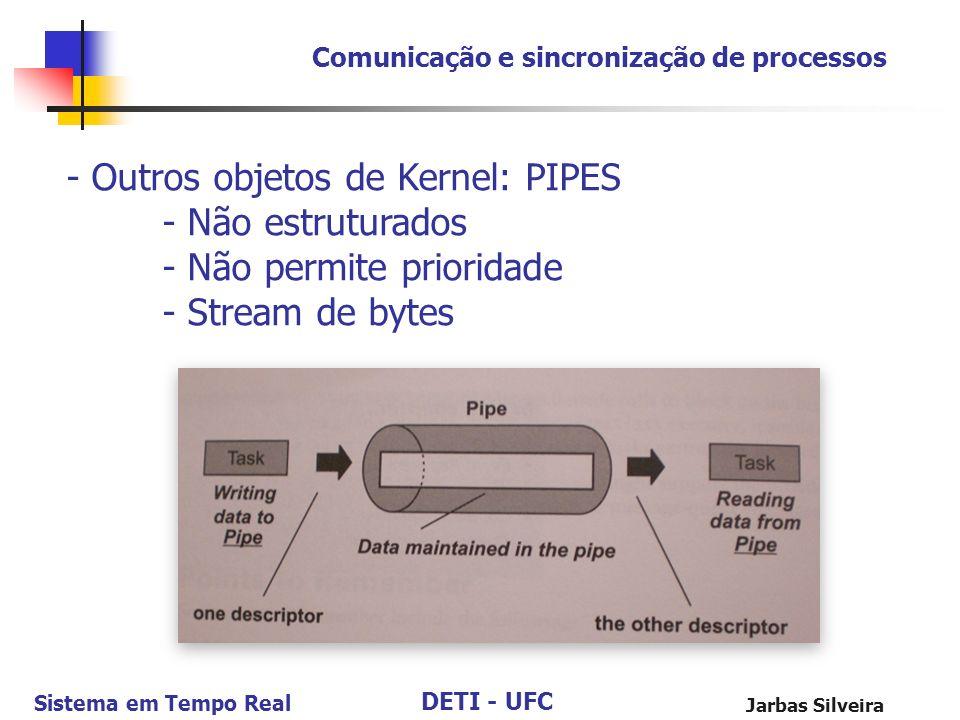 DETI - UFC Sistema em Tempo Real Jarbas Silveira Comunicação e sincronização de processos - Outros objetos de Kernel: PIPES - Não estruturados - Não p