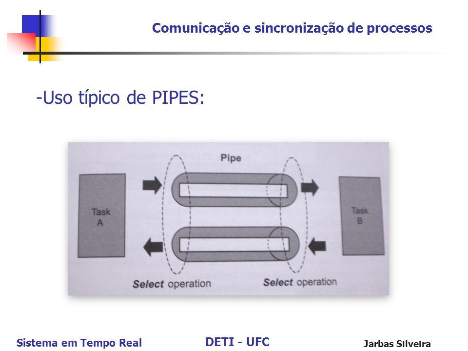 DETI - UFC Sistema em Tempo Real Jarbas Silveira Comunicação e sincronização de processos -Uso típico de PIPES: