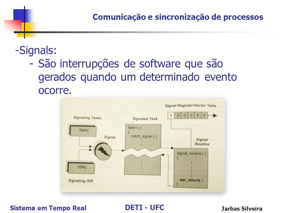 DETI - UFC Sistema em Tempo Real Jarbas Silveira Comunicação e sincronização de processos -Signals: -São interrupções de software que são gerados quan