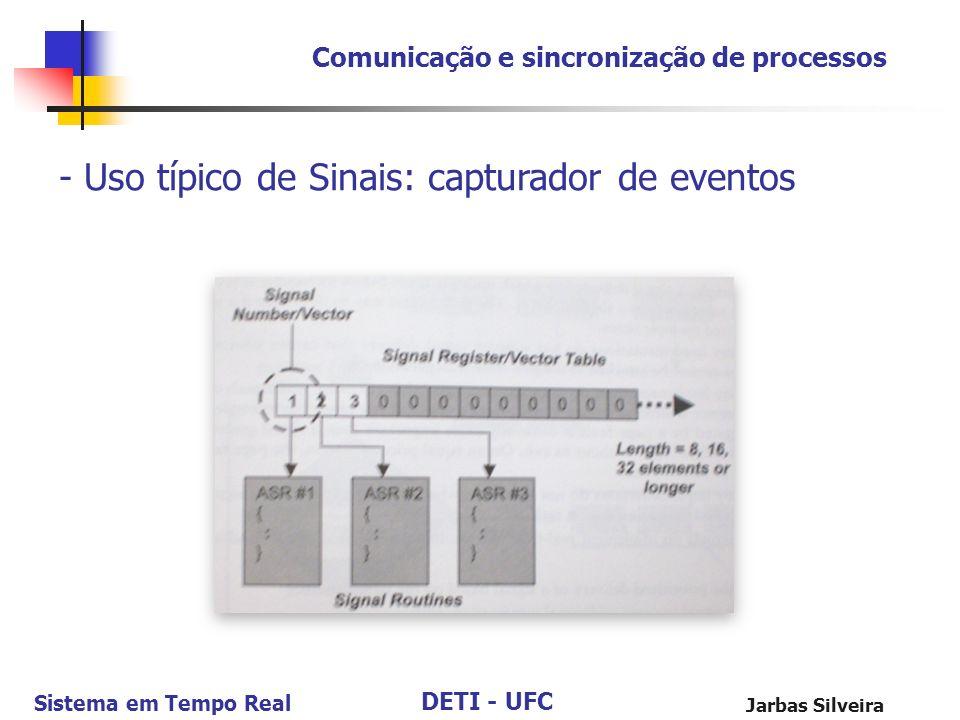 DETI - UFC Sistema em Tempo Real Jarbas Silveira Comunicação e sincronização de processos - Uso típico de Sinais: capturador de eventos