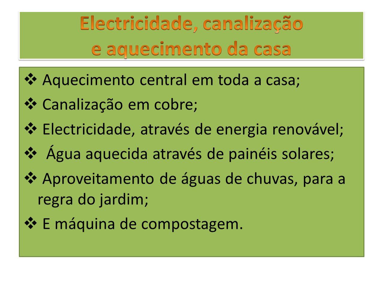 Aquecimento central em toda a casa; Canalização em cobre; Electricidade, através de energia renovável; Água aquecida através de painéis solares; Aprov