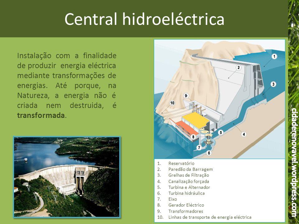 Central hidroeléctrica 1.Reservatório 2.Paredão da Barragem 3.Grelhas de Filtração 4.Canalização forçada 5.Turbina e Alternador 6.Turbina hidráulica 7