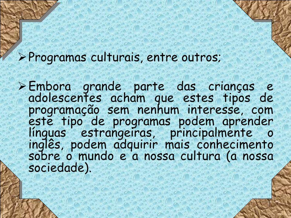 Programas culturais, entre outros; Embora grande parte das crianças e adolescentes acham que estes tipos de programação sem nenhum interesse, com este tipo de programas podem aprender línguas estrangeiras, principalmente o inglês, podem adquirir mais conhecimento sobre o mundo e a nossa cultura (a nossa sociedade).