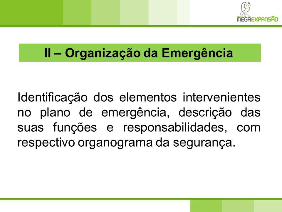 Identificação dos elementos intervenientes no plano de emergência, descrição das suas funções e responsabilidades, com respectivo organograma da segur