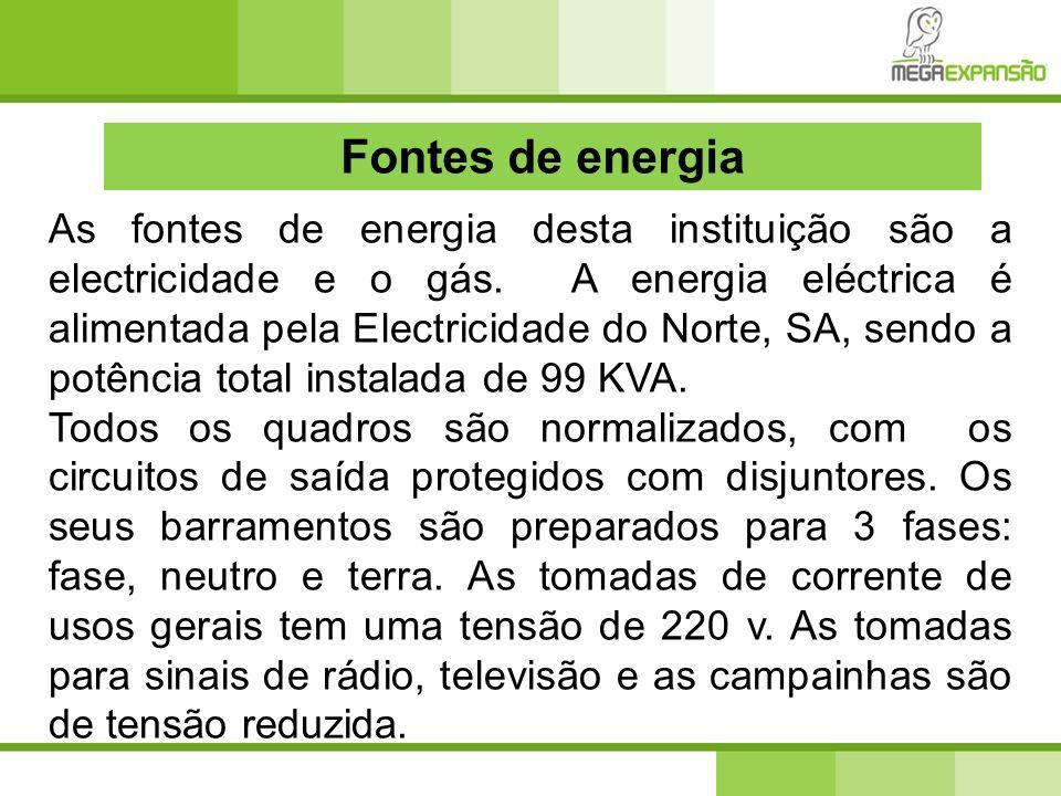 Fontes de energia As fontes de energia desta instituição são a electricidade e o gás. A energia eléctrica é alimentada pela Electricidade do Norte, SA