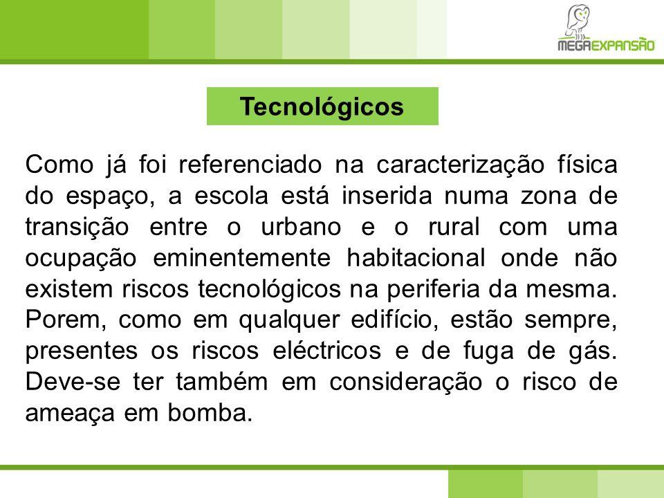 Tecnológicos Como já foi referenciado na caracterização física do espaço, a escola está inserida numa zona de transição entre o urbano e o rural com u