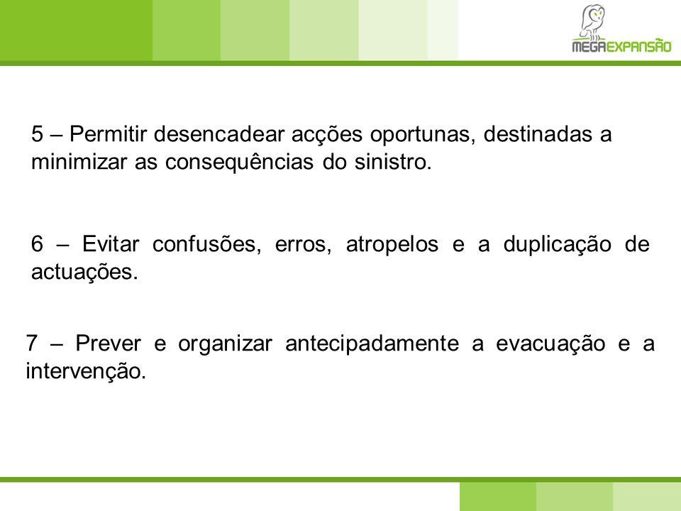 7 – Prever e organizar antecipadamente a evacuação e a intervenção. 6 – Evitar confusões, erros, atropelos e a duplicação de actuações. 5 – Permitir d