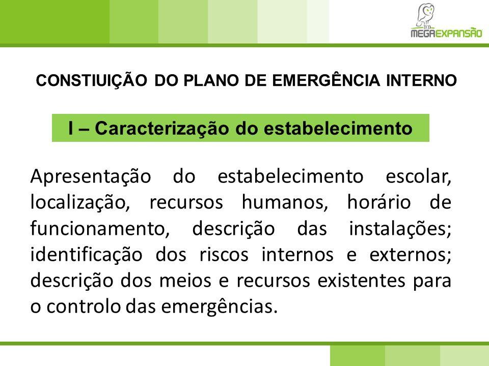 CONSTIUIÇÃO DO PLANO DE EMERGÊNCIA INTERNO Apresentação do estabelecimento escolar, localização, recursos humanos, horário de funcionamento, descrição
