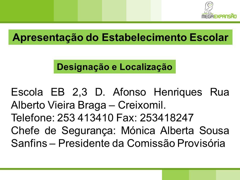 Apresentação do Estabelecimento Escolar Escola EB 2,3 D. Afonso Henriques Rua Alberto Vieira Braga – Creixomil. Telefone: 253 413410 Fax: 253418247 Ch
