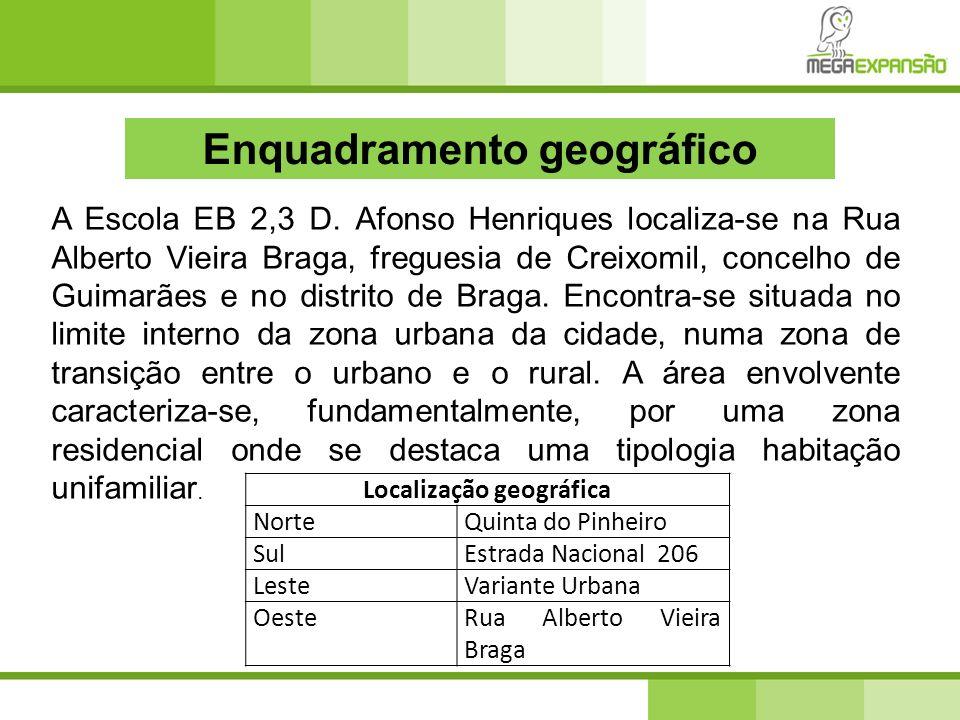 Enquadramento geográfico A Escola EB 2,3 D. Afonso Henriques localiza-se na Rua Alberto Vieira Braga, freguesia de Creixomil, concelho de Guimarães e