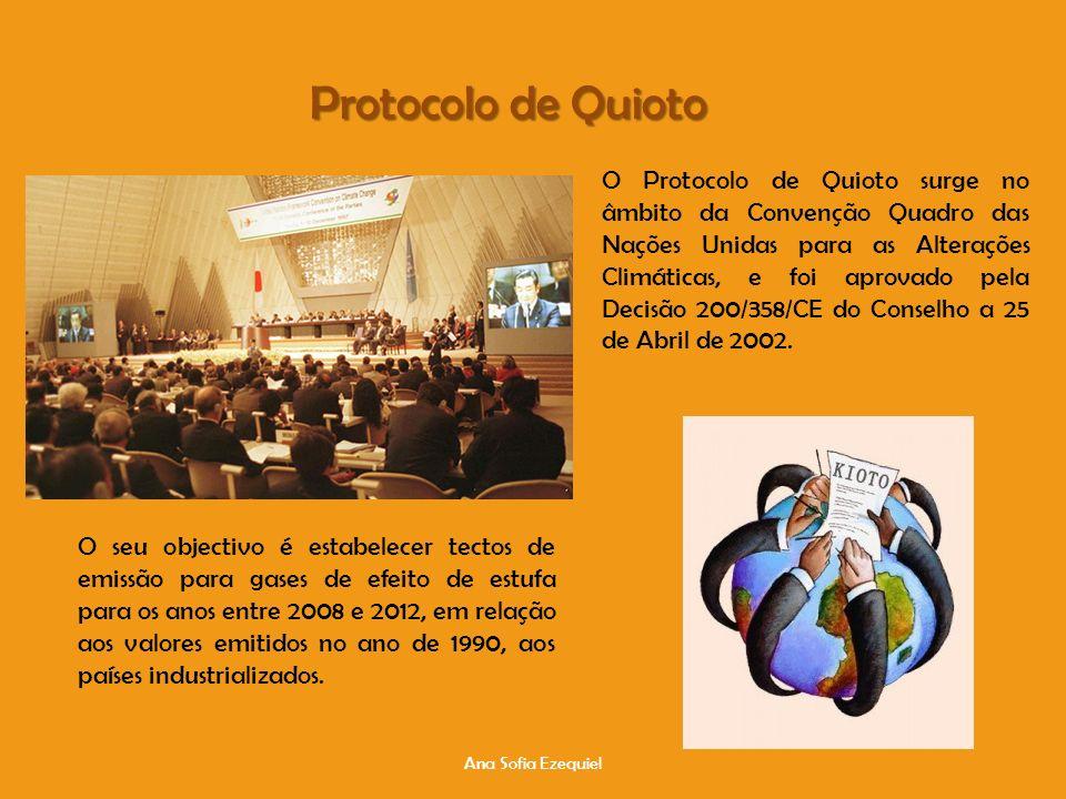 Protocolo de Quioto Ana Sofia Ezequiel O Protocolo de Quioto surge no âmbito da Convenção Quadro das Nações Unidas para as Alterações Climáticas, e foi aprovado pela Decisão 200/358/CE do Conselho a 25 de Abril de 2002.