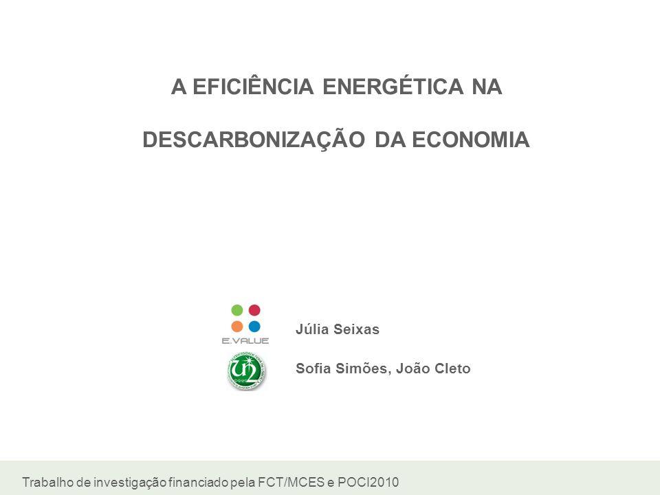 A EFICIÊNCIA ENERGÉTICA NA DESCARBONIZAÇÃO DA ECONOMIA Júlia Seixas Sofia Simões, João Cleto Trabalho de investigação financiado pela FCT/MCES e POCI2