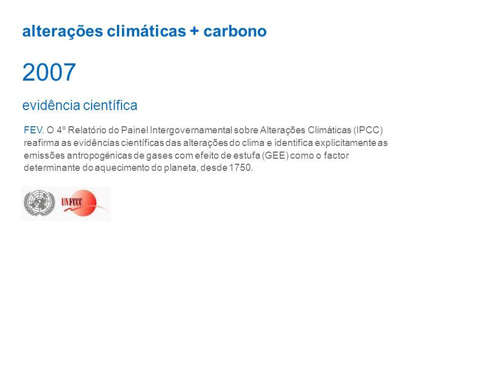 alterações climáticas + carbono 2007 FEV. O 4º Relatório do Painel Intergovernamental sobre Alterações Climáticas (IPCC) reafirma as evidências cientí
