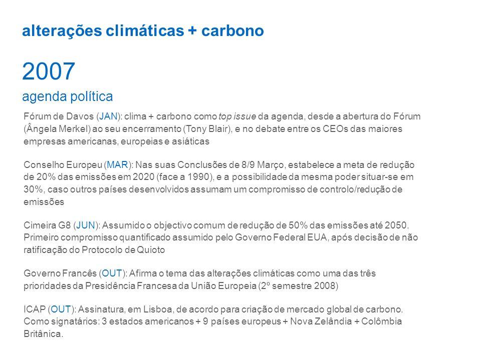 alterações climáticas + carbono 2007 agenda política Fórum de Davos (JAN): clima + carbono como top issue da agenda, desde a abertura do Fórum (Ângela