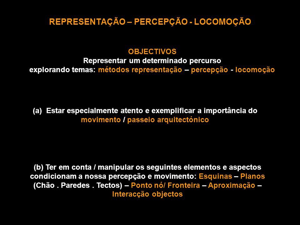 REPRESENTAÇÃO – PERCEPÇÃO - LOCOMOÇÃO OBJECTIVOS Representar um determinado percurso explorando temas: métodos representação – percepção - locomoção (