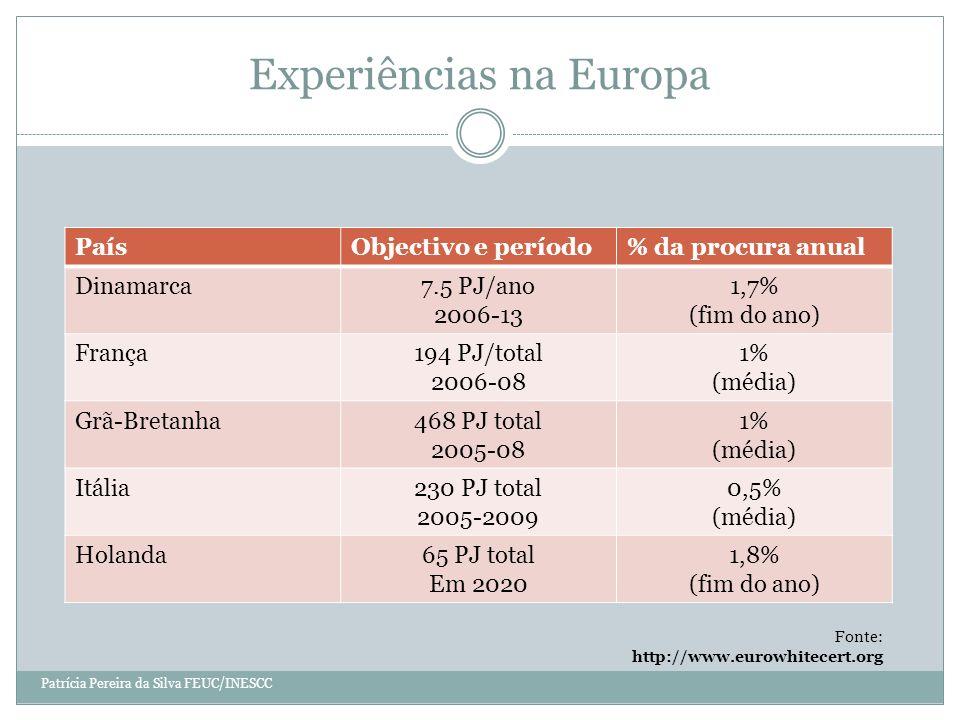 Experiências na Europa PaísObjectivo e período% da procura anual Dinamarca7.5 PJ/ano 2006-13 1,7% (fim do ano) França194 PJ/total 2006-08 1% (média) Grã-Bretanha468 PJ total 2005-08 1% (média) Itália230 PJ total 2005-2009 0,5% (média) Holanda65 PJ total Em 2020 1,8% (fim do ano) Fonte: http://www.eurowhitecert.org Patrícia Pereira da Silva FEUC/INESCC