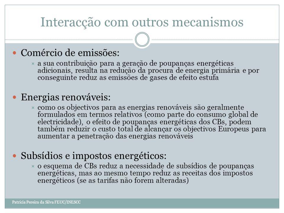 Interacção com outros mecanismos Patrícia Pereira da Silva FEUC/INESCC Comércio de emissões: a sua contribuição para a geração de poupanças energéticas adicionais, resulta na redução da procura de energia primária e por conseguinte reduz as emissões de gases de efeito estufa Energias renováveis: como os objectivos para as energias renováveis são geralmente formulados em termos relativos (como parte do consumo global de electricidade), o efeito de poupanças energéticas dos CBs, podem também reduzir o custo total de alcançar os objectivos Europeus para aumentar a penetração das energias renováveis Subsídios e impostos energéticos: o esquema de CBs reduz a necessidade de subsídios de poupanças energéticas, mas ao mesmo tempo reduz as receitas dos impostos energéticos (se as tarifas não forem alteradas)