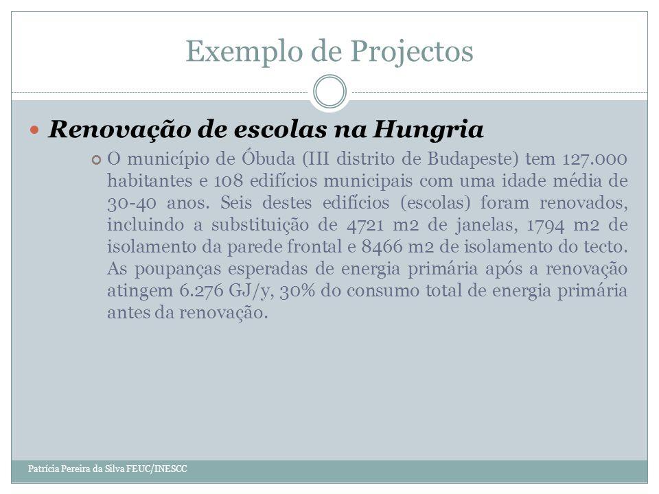 Exemplo de Projectos Patrícia Pereira da Silva FEUC/INESCC Renovação de escolas na Hungria O município de Óbuda (III distrito de Budapeste) tem 127.000 habitantes e 108 edifícios municipais com uma idade média de 30-40 anos.