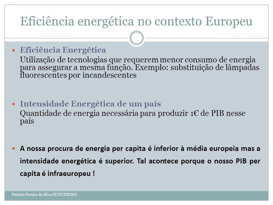 Eficiência energética no contexto Europeu Patrícia Pereira da Silva FEUC/INESCC Eficiência Energética Utilização de tecnologias que requerem menor consumo de energia para assegurar a mesma função.