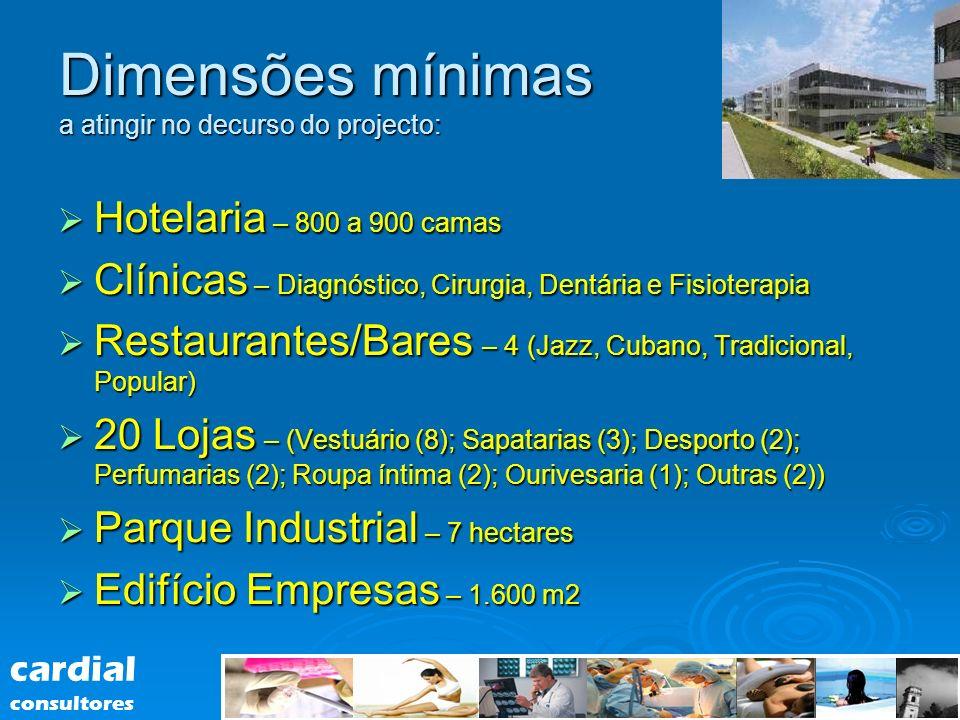 Dimensões mínimas a atingir no decurso do projecto: Hotelaria – 800 a 900 camas Hotelaria – 800 a 900 camas Clínicas – Diagnóstico, Cirurgia, Dentária