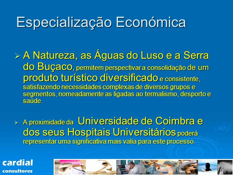 Especialização Económica A Natureza, as Águas do Luso e a Serra do Buçaco, permitem perspectivar a consolidação de um produto turístico diversificado