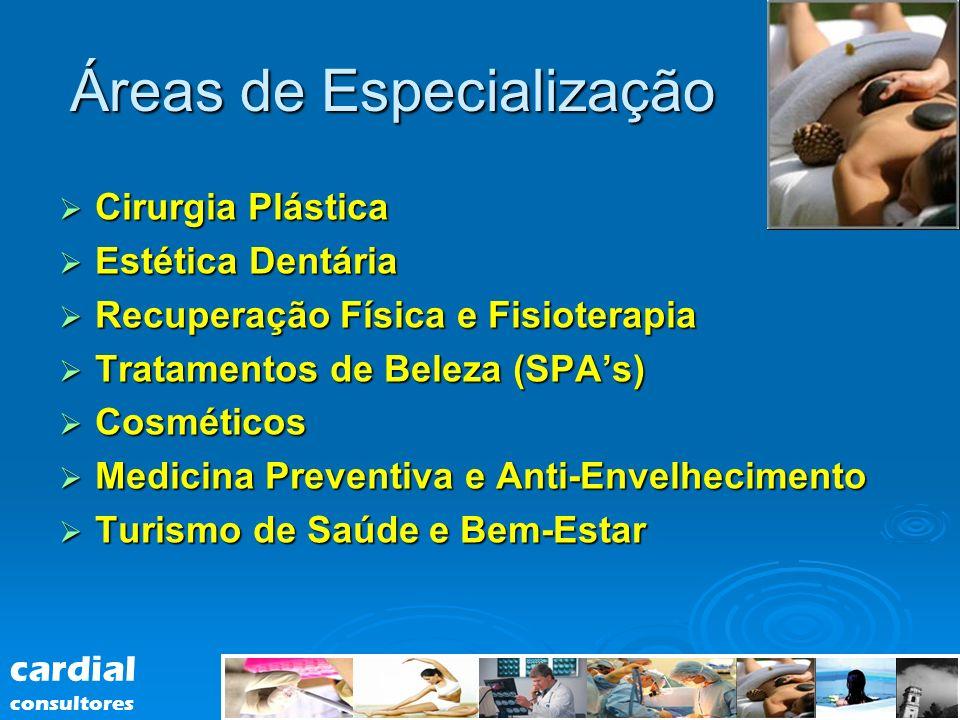 Áreas de Especialização Cirurgia Plástica Cirurgia Plástica Estética Dentária Estética Dentária Recuperação Física e Fisioterapia Recuperação Física e