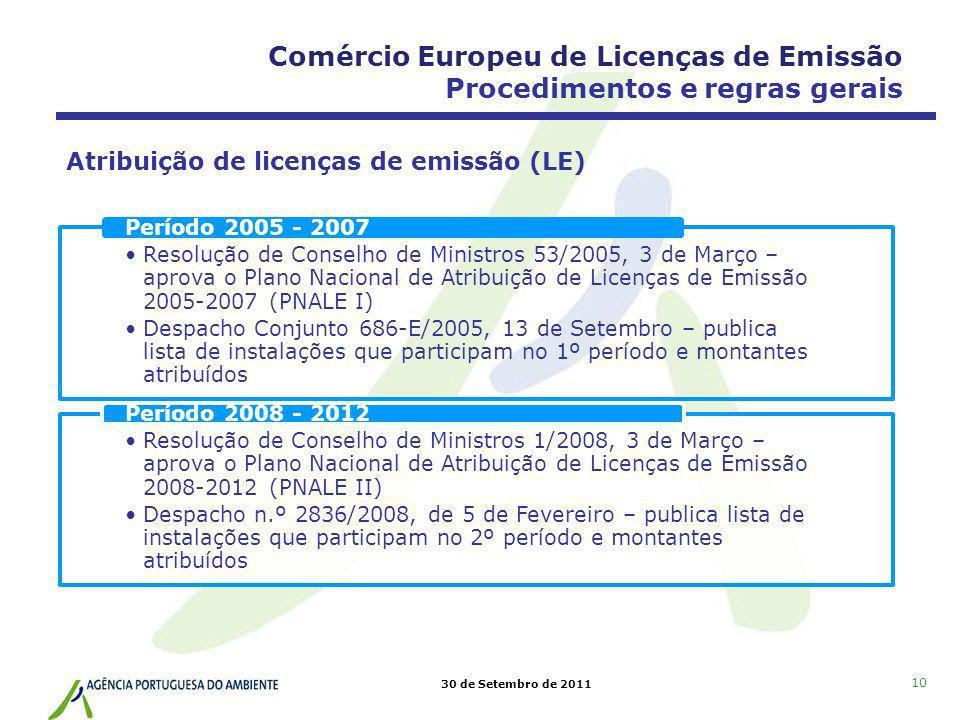 30 de Setembro de 2011 10 Comércio Europeu de Licenças de Emissão Procedimentos e regras gerais Atribuição de licenças de emissão (LE) Resolução de Co